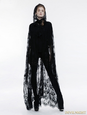 Black Gothic Transparent Lace Long Cloak for Women