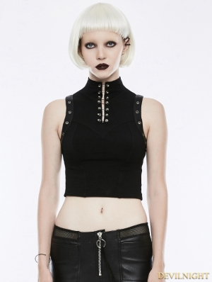 Black Gothic Punk Sleeveless Tank Top for Women