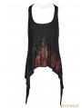 Black Gothic Punk Printing Tank Top for Women