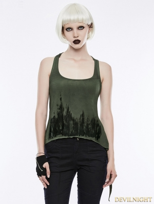 Green Gothic Punk Printing Tank Top for Women