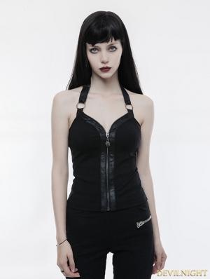 Black Gothic Punk Zipper Vest for Women
