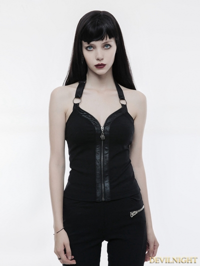Black Gothic Punk Zipper Vest for Women