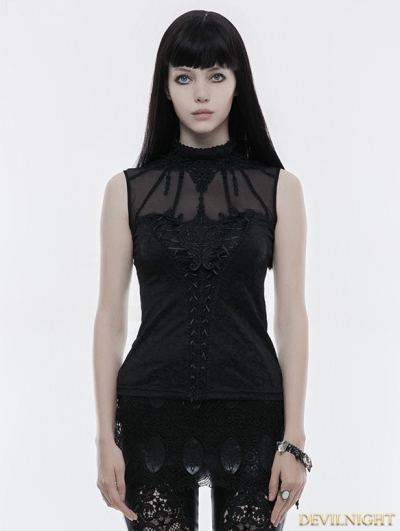 Black Gothic Gorgeous Sleeveless T-Shirt for Women