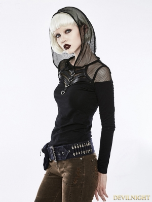 Black Gothic Punk Hooded Long Sleeve T-Shirt for Women