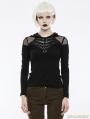 Black Gothic Punk Hooded Long Sleeve T-Shirt for Women