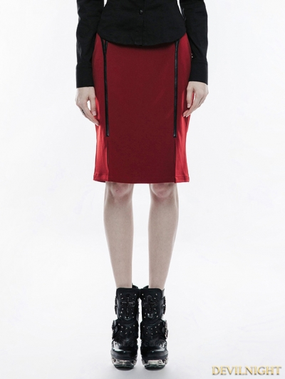 Red Gothic Military Uniform Half Skirt