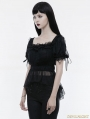 Black Gothic Lolita Thin Knitted T-Shirt for Women