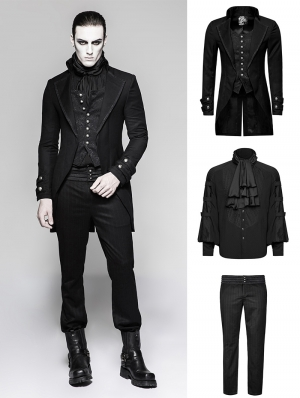 Black Gothic Gentleman Steampunk Suit for Men