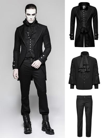 Black Gothic Gentleman Steampunk Suit for Men