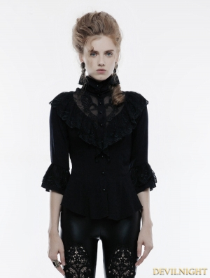 Black Gothic Phoenix Tail Lace Shirt for Women