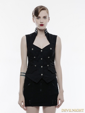Black Gothic Military Uniform Sleeveless Vest for Women