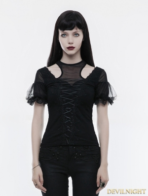 Black Gothic Gorgeous Short Sleeve T-Shirt for Women