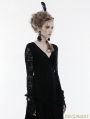 Black Gothic Lace Sleeves Asymmetric Shirt for Women