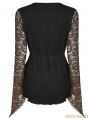 Gothic Lace Sleeves Asymmetric Shirt for Women
