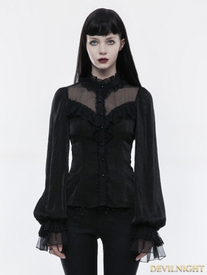 Black Gothic Lolita Long Sleeves Shirt for Women