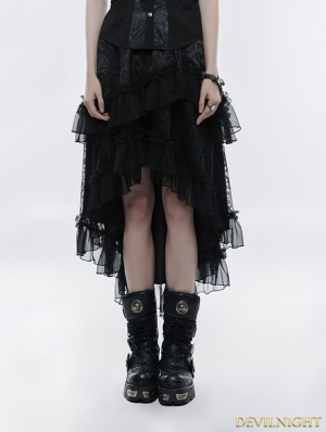 Black Gothic Lolita Double-layer High Waist Skirt
