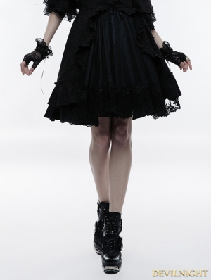 Black Gothic Lolita Bubble Jacquard Skirt