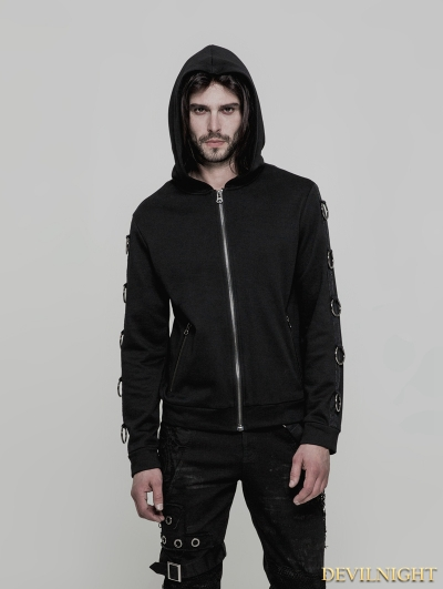 Black Gothic Punk Hoodie Cardigan Sweater for Men