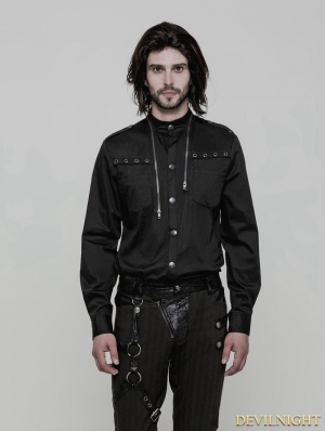 Black Gothic Uniform Punk Shirt for Men
