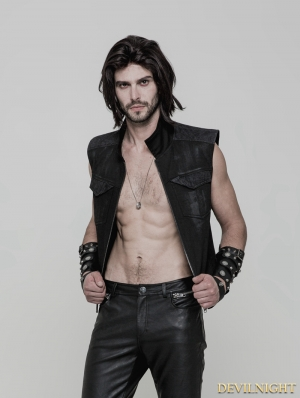 Black Gothic Punk Vest for Men