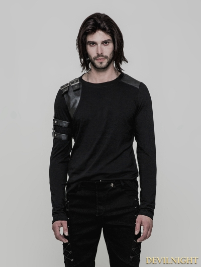 Black Gothic Steampunk Long Sleeve T-Shirt for Men