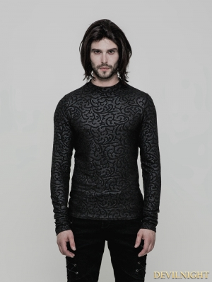 Black Gothic Pattern T-Shirt for Men
