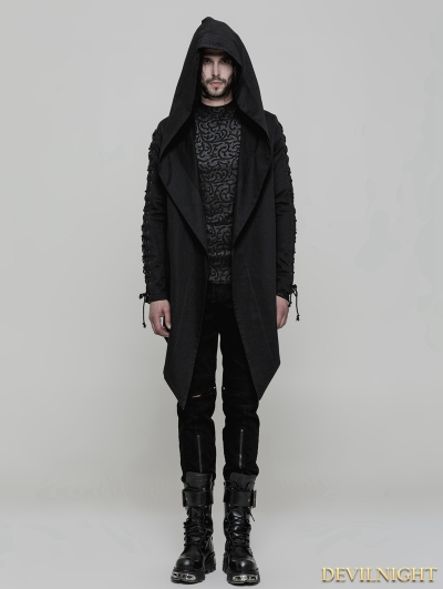 Black Gothic Punk Hooded Coat Cloak for Men