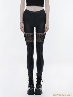 Black Gothic Skull Embroidered Leggings for Women