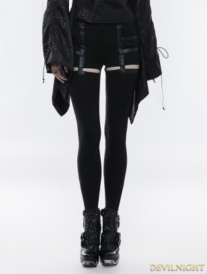 Black Gothic Daily Punk Hollow-out Stretch Pants for Women