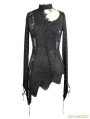 Black Gothic Lace Floral Sexy Asymmetric Shirt for Women