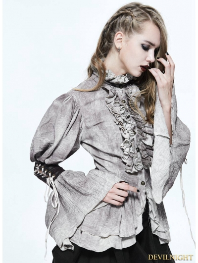 Do Old Style Steampunk Long Bubble Sleeves Blouse for Women