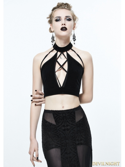 Black Sexy Gothic Short Top for Women