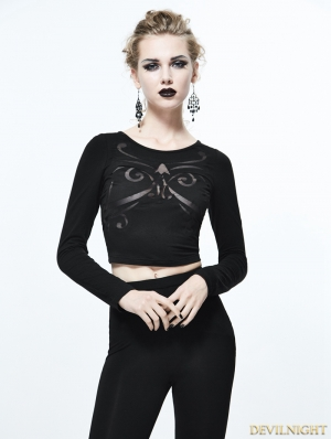 Black Gothic Sexy Pattern Short Shirt for Women