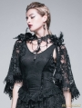Black Gothic Lace Tassel Shawl