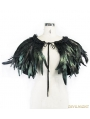 Black and Green Feather Collar Shawl