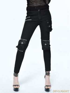 Black Gothic Punk Pockets Pants for Women