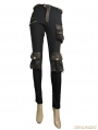 Black and Coffee Gothic Punk Pockets Pants for Women