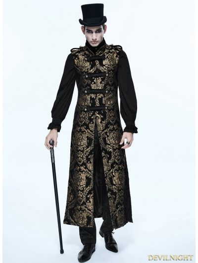 Gold Gothic Vintage Double-breasted Long Vest for Men
