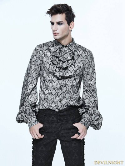 Gothic Vintage Pattern Blouse with Detachable Bowtie