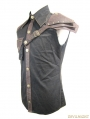 Black and Coffee Gothic Punk Sleeveless Shirt for Men