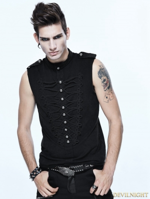 Black Gothic Vintage Sleeveless Shirt for Men