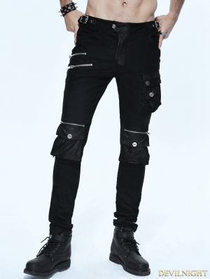 Black Gothic Punk Pockets Pants for Men