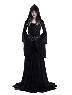 Black Gothic Medieval Vampire Hooded Dress Costume