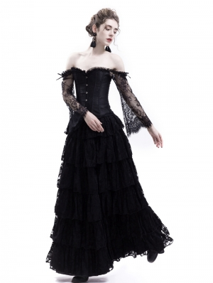 Black Lace Romantic Vintage Gothic Corset Long Prom Party Dress