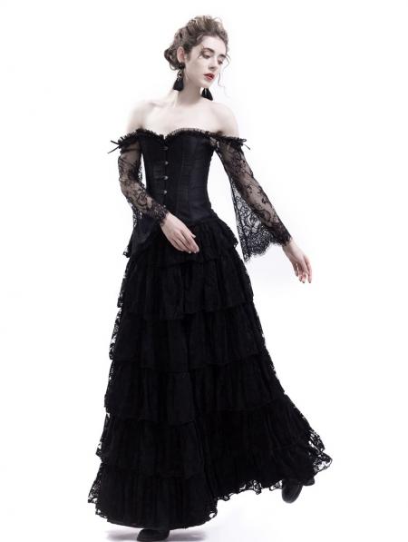a57415da26a42 Black Lace Romantic Vintage Gothic Corset Long Prom Party Dress ...