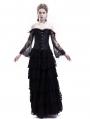 Black Lace Romantic Vintage Gothic Corset Long Prom Party Dress