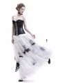 White and Black Romantic Gothic Punk Long Prom Party Dress