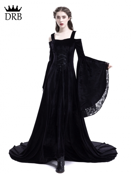 Black Off-the-Shoulder Renaissance Gothic Medieval Dress ...