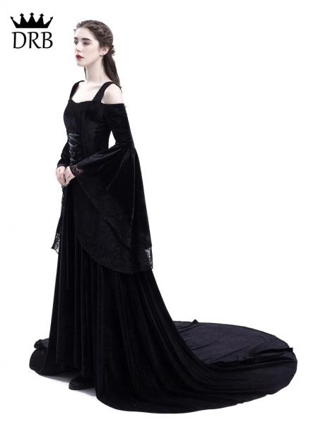 Black Off The Shoulder Renaissance Gothic Medieval Dress