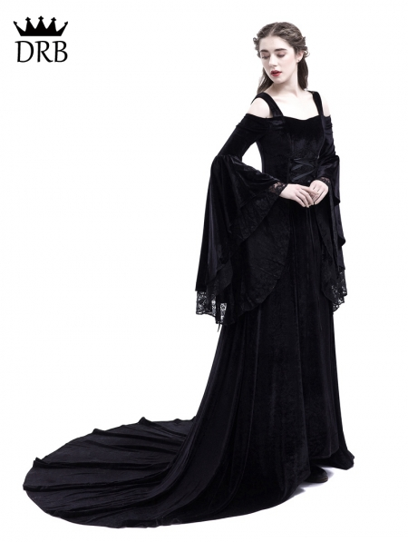 f80601c3d220 ... Black Off-the-Shoulder Renaissance Gothic Medieval Dress ...
